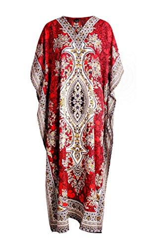 RK Essentials | Tribal Ethnic Print Long Kaftan | Plus Size (Red)