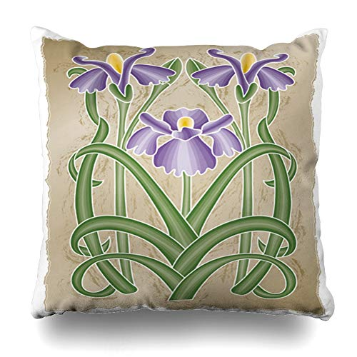 Ahawoso Throw Pillow Cover Pillowcase Green Floral Nouveau Iris Nature Purple Flower Graphic Leaf Spring Stem Design Zippered Square Size 16 x 16 Inches Home Decor Cushion Case
