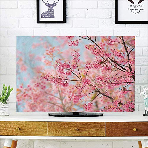 Premium LCD TV Cover Multi Style,Floral,Japanese Sakura Cherry Blossom Branches Full of Spring Beauty Picture,Light Pink Baby Blue,Customizable Compatible 37