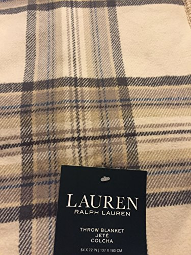 Lauren Ralph Lauren Tartan Plaid Brushed Cotton Throw Blanket 54 x 72 - Brown, Tan, Blue, Ivory