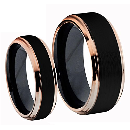 Tungsten Jeweler His & Her (1 Pair) Titanium Two-Tone Black IP & Rose Gold IP Brushed Center Wedding Band Ring Bridal - Tone Band Gold Wedding Two Sets