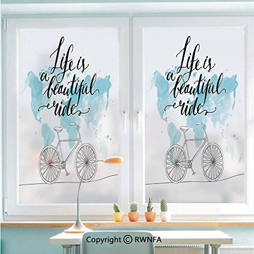 Window Door Sticker Glass Film,Inspirational Cycling with World Map Reflection Motivational Sports Illustration Anti UV Heat Control Privacy Kitchen Curtains for Glass,22.8 x 35.4 inch,Blue White