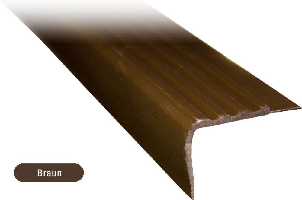 6 Treppenkantenprofil braun Kunststoff PVC 1,20m k/ürzbar Treppenwinkel