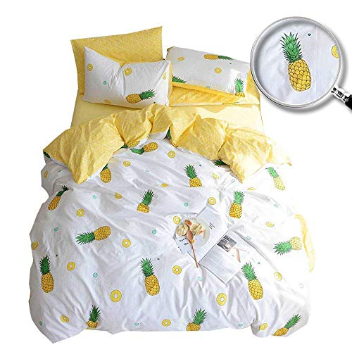 XUKEJU 100% Cotton Soft Children/Adults Duvet Cover Set Yellow Fruits Printed Pattern Reversible Boys Girls Bedding Set Pineapple 3 Pieces with 2 Pillow Cases Best Bedding Gifts Twin Size (For Adult Bedding Set Twin)
