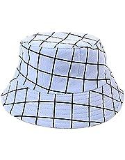 ZffXH Plaid Bucket Fishing hat for Women Striped Fisherman Cap Check Cloche Cap Chequered Cloth Hats
