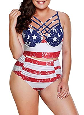 Lovezesent Women Strappy Tankini High Waisted Ruched Swimsuit 2pcs Bathing Suits
