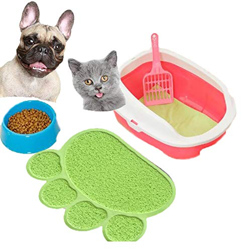 UREEN Paw Claw Embossed Style 11.8x15.8 inch PVC Pet Dish Dinner Water Bowl Mat Blanket for Dog Cat Pet Fluorescence Green