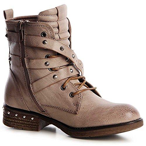 Mujer Botín Boots Botines Worker Topschuhe24 Fango pdU8p