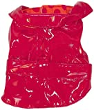 The Dog Squad Pet Raincoat, Small, Red with Orange/Red Polka Dot Liner