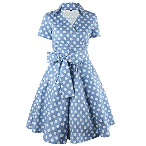 Samtree Womens Polka Dot Dresses,50s Style Short Sleeves Rockabilly Vintage Dress(S(US 2),Polka Dot Blue)