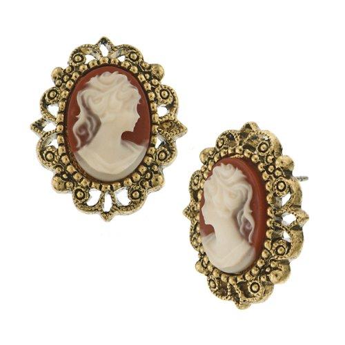 - 1928 Jewelry Brass-Tone Cameo Button Earrings