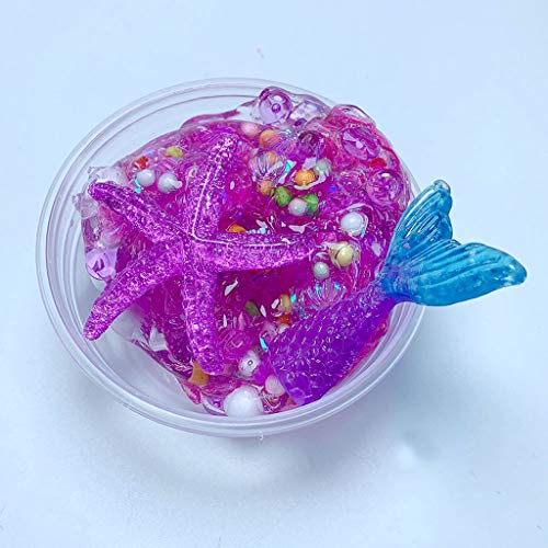Soft Foam Rubber Star - Show Tine ON Sea Star Crystal Slime,Fluffy Floam Slime,Jelly Toy,Soft Rubber Putty Mud Clay Stress Relief Toy for Kids Party Favor Decorations (Purple, 60 ml / 2 oz)