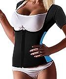 Gotoly Waist Trainer Vest Sauna Sweat Suit Tummy Control Shapewear with Sleeves (M Fit 33.8-37.0 Inch Waistline, Black)