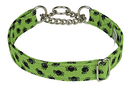 Country Brook Design Lil Spiders Designer Half Check Dog Collar - Extra Large