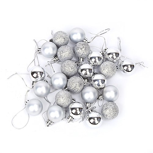 GLOGLOW 24pcs 30mm Christmas Tree Ball Ornaments Set Xmas Decoration Ball Matte Shiny Glitter Bauble Pendants Home Party Wedding Hanging Decor(Silver)