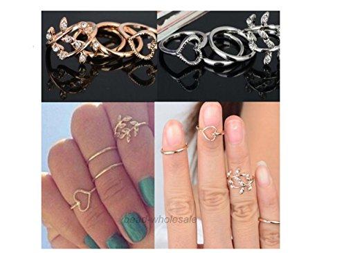 ILOVEDIY Fingerring-Set für Damen überzogene Blatt-Herz Joint Knuckle-Nagel-Ring-Satz der vier Ringe (Silver)