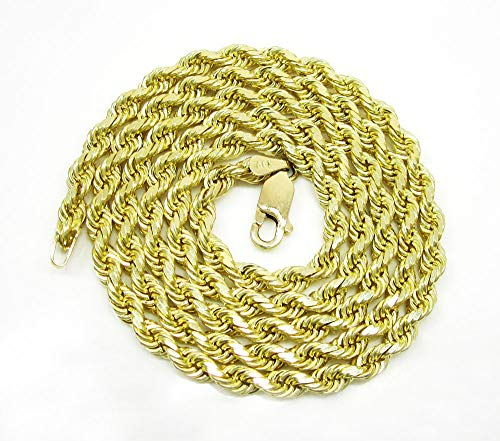 10K Yellow Gold 1.5mm – 5mm Solid Rope Diamond Cut Chain, FREE Microfiber Cloth, Link Necklace, Giorgio Bergamo