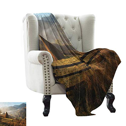 LsWOW Blanket Woodland,Morning Mist Haze in Mountain Woodland Autumn Dawn Houses Fences Landscape, Brown Green Blue for Bed & Couch Sofa Easy Care 60