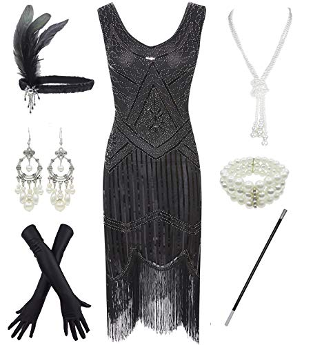 1920s Gatsby Sequin Fringed Paisley Flapper Dress with 20s Accessories Set (M, -