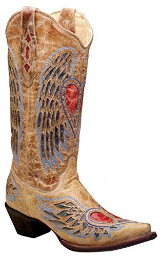 Corral Women's Heart Angel Wing Cowgirl Boot Snip Toe Ant...