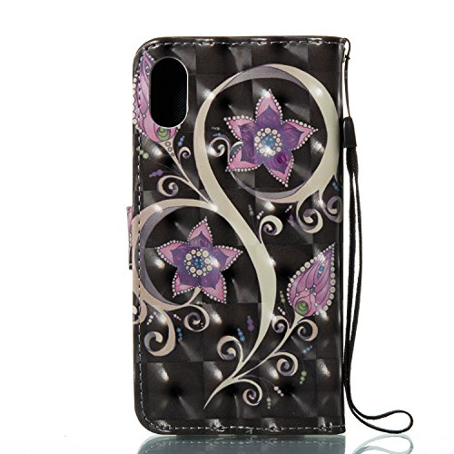 Vandot PU Funda Flip Case para iPhone X / iPhone10 Caso de Cuero con la Función del Soporte Pintado Cubierta Caja Protectora de la Teléfono para móvil iPhone X / iPhone 10 5.8 + 1x Metal Stylus Pen + DZCH3-6