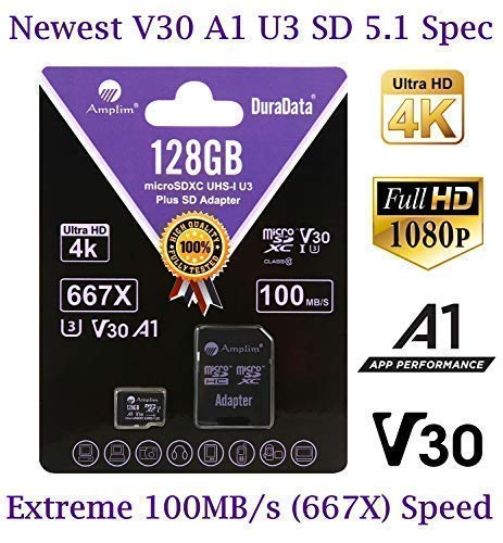 128GB Micro SD Card Plus Adapter Pack, Amplim 128 GB MicroSD SDXC Class 10 U3 A1 V30 Extreme Pro Speed 100MB/s UHS-I UHS-1 TF XC MicroSDXC Memory Card for Cell Phone, Nintendo, Galaxy, Fire, Gopro