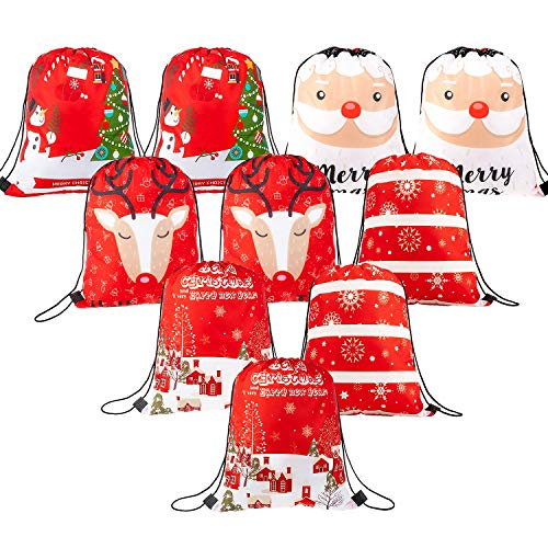 (Whaline 10 Pieces Christmas Drawstring Bag Large Santa Sack Gift Backpack Treat Goody Bag for Christmas Party Decoration)