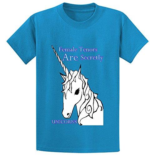 Price comparison product image Female Tenors Are Secretly Unicorns Unisex Crew Neck Print T Shirts Blue