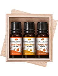 Plant Therapy Fall Holiday Blend Synergy Gift Set. Pumpkin Pie, Spiced Orange, and Autumn Breeze. 100% Pure, Undiluted, Therapeutic Grade Essential Oils. 10 ml (1/3 oz) each
