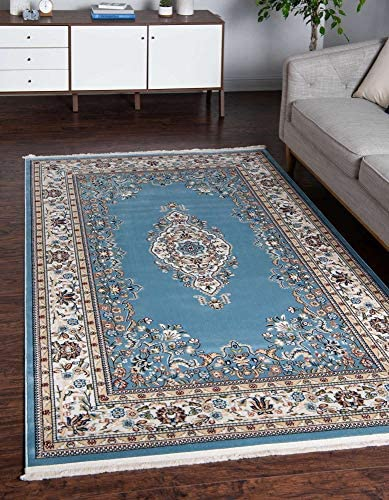 Unique Loom Narenj Collection Classic Traditional Medallion Textured Blue Area Rug 10' 0 x 13' 0
