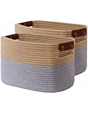 CLUBASKET 2-Pack Woven Cotton Rope Storage Basket For Shelves Decorative Storage Bins For Toy Woven Baskets For Organizing