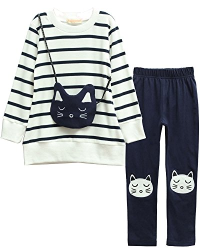 M RACLE Cute Little Girls' 2 Pieces Long Sleeve Top Pants Leggings Clothes Set Outfit (6-7 Years, White Cat)