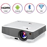 Portable HD Wireless Airplay Projector for iPhone iPad Android,Bluetooth Wifi HDMI USB VGA AV Built-in Speakers,LED LCD Android Projector 2600 Lumens for Movies Games DVD TV Home Theater Outdoor Party