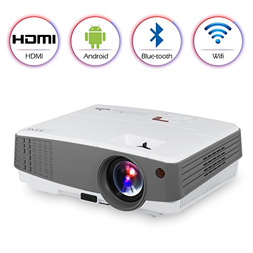 HD Wireless Bluetooth Projector Portable for iPhone iPad, WiFi Airplay HDMI USB VGA AV Built-in Speakers,LED LCD Android Video Projector 2600 Lumens for Movies Games Home Indoor Outdoor Party DVD