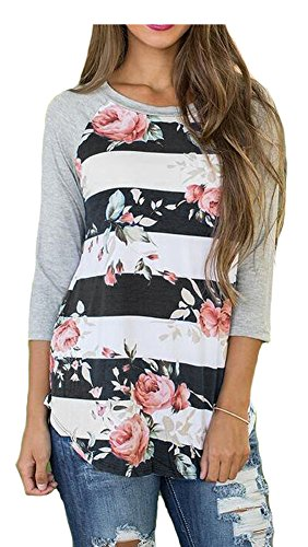 Etcyy Womens 3 4 Sleeve Floral Print Striped Blouse Casual Tops T Shirt