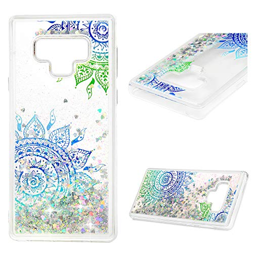 Galaxy Note 9 Case, Samsung Galaxy Note 9 Case, ZSTVIVA Liquid Glitter Case Bling Shiny Flowing Love Heart Cover Clear TPU Bumper Samsung Galaxy Note 9 - Green Blue Mandala Totem Flower -