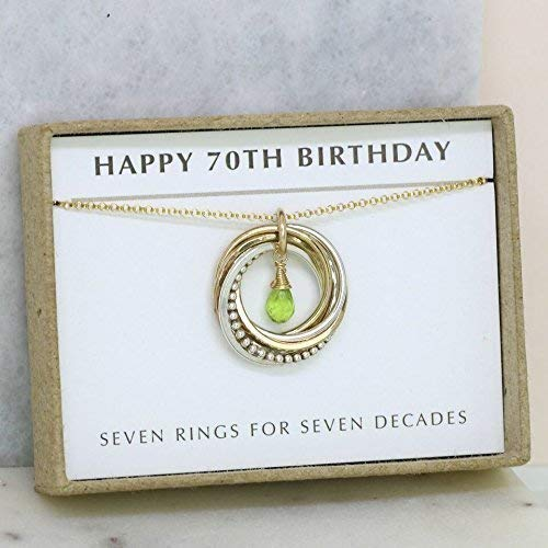 Amazon 70th Birthday Necklace August Birthstone Gift For Mom Sister Wife 7 Rings Decades