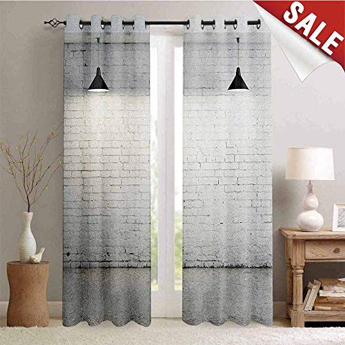 Hengshu Abstract Window Curtain Fabric Brickwork Concrete Room with Three Ceiling Lamps Modern Minimalistic Design Drapes for Living Room W108 x L96 Inch Black and White
