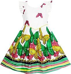 JH25 Girls Butterfly Striped Dress Back To School Party Size 14