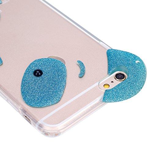 Funda Case para iPhone 6 iPhone 6S 4.7, Ukayfe 3D Crystal Creativa Fluye Liquido Lujo Moda Sparkle Glitter Bling Estrella Corazon Quicksand Diseño Cover Funda caja ,Protectora Carcasa Bling del brillo verde claro oso de cristal