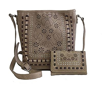 American Bling Concealed Gun Messenger Cross Body Purse and Wallet Set Daisy Cutouts