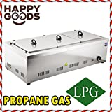 PROFESSIONAL Propane Gas 3 Compartment Commercial Bain-marie Buffet Food Sause Desktop Countertop Warmer Steamer Steam Table 3 POT INCLUDED 3 LID INCLUDED COMPLETE SET