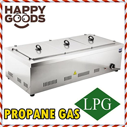 - PROFESSIONAL Propane Gas 3 Compartment Commercial Bain-marie Buffet Food Sause Desktop Countertop Warmer Steamer Steam Table 3 POT INCLUDED 3 LID INCLUDED COMPLETE SET