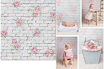 FLORATA 3x5ft Thin Vinyl Photography Backdrops Brick Florets Wall Baby Newborn Birthday Photo Background Studio Props 0.9x1.5m