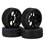 BQLZR Black 1:10 RC Racing Flat Car Rubber Tires with Aluminum Alloy 11 Spokes Wheels Set Of 4