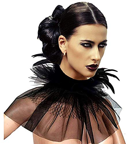 L'VOW Women' Victorian Natural Feather Tulles Lace Choker Neck Wrap Collar Halloween (Style Two)