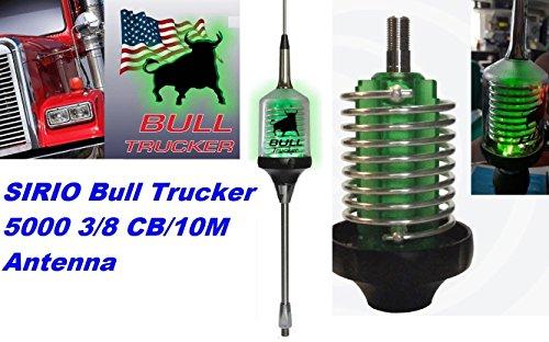 Sirio Bull Trucker 5000 3/8 5000W CB & 10M Mobile Antenna with Shaft - Green LED! (Green Cb Radio Antenna)