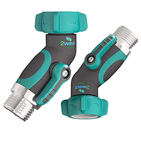 """2wayz 2X 45° Metal Hose Elbow! Revamped July 2017 Version: No Leaks - Stay Dry as a Bone! Lead-Free Gooseneck Connector Swivels 360°. Garden Hose Shutoff Adapter Fits ¾"""" Hoses. Great for RVs, (Hvac Hose Quick Connect)"""