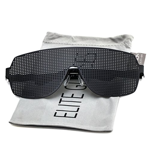 Elite Disco Costume Party Rave Alien Space Futuristic Mesh Shield Lens Visor Glasses (Black, - Shades Sunglasses Alien