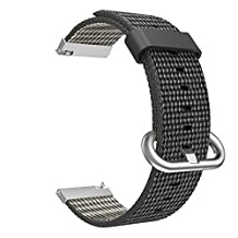 Universal 20mm Quick Release Watch Band, MoKo Fine Woven Nylon Replacement Band Sport Strap for Samsung Gear S2 Classic/Motorola Moto 360 2nd Gen Men's 42mm/Garmin Vivomove/Ticwatch 2nd/Huawei Watch 2, Black
